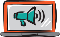 Illustrated computer with megaphone on screen icon
