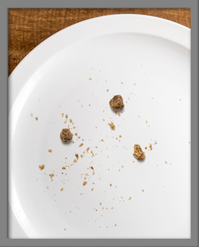 Empty plate with cookie crumbs